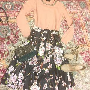 Floral midi skater skirt!